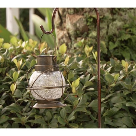 Compass Home Solar Color Changing Crackle Glass Lantern-Daily Steals