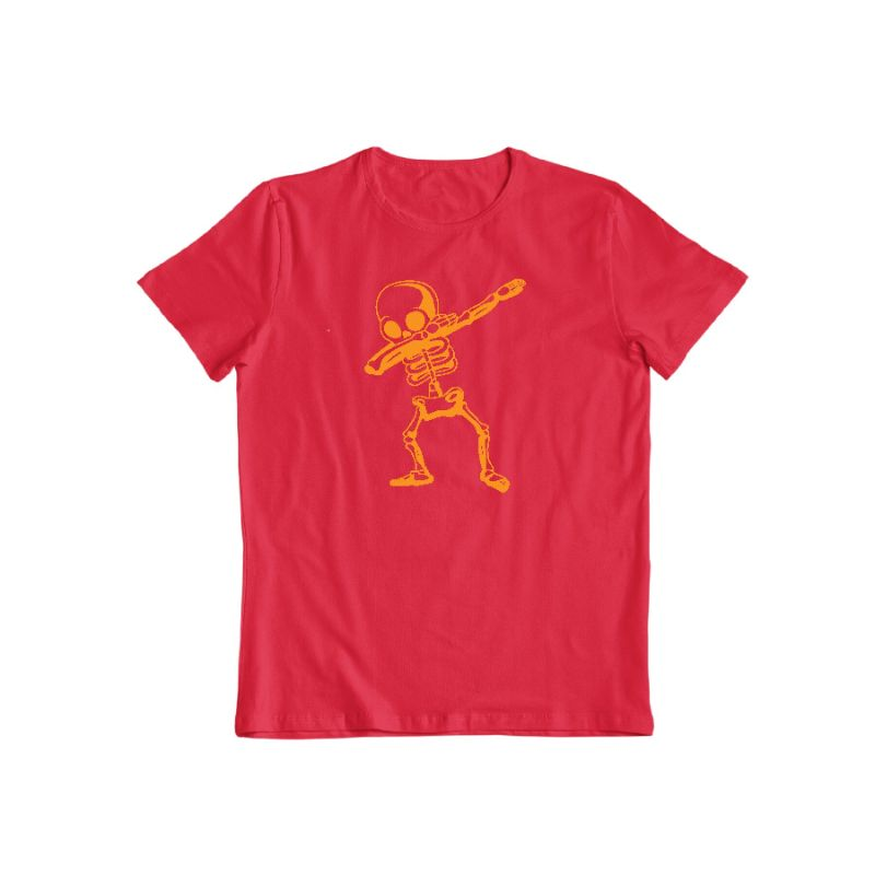 Dabbing Skeleton Funny Unisex Halloween T-Shirt-Red-S-Daily Steals