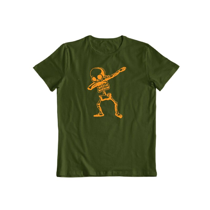 Dabbing Skeleton Funny Unisex Halloween T-Shirt-Forest Green-S-Daily Steals
