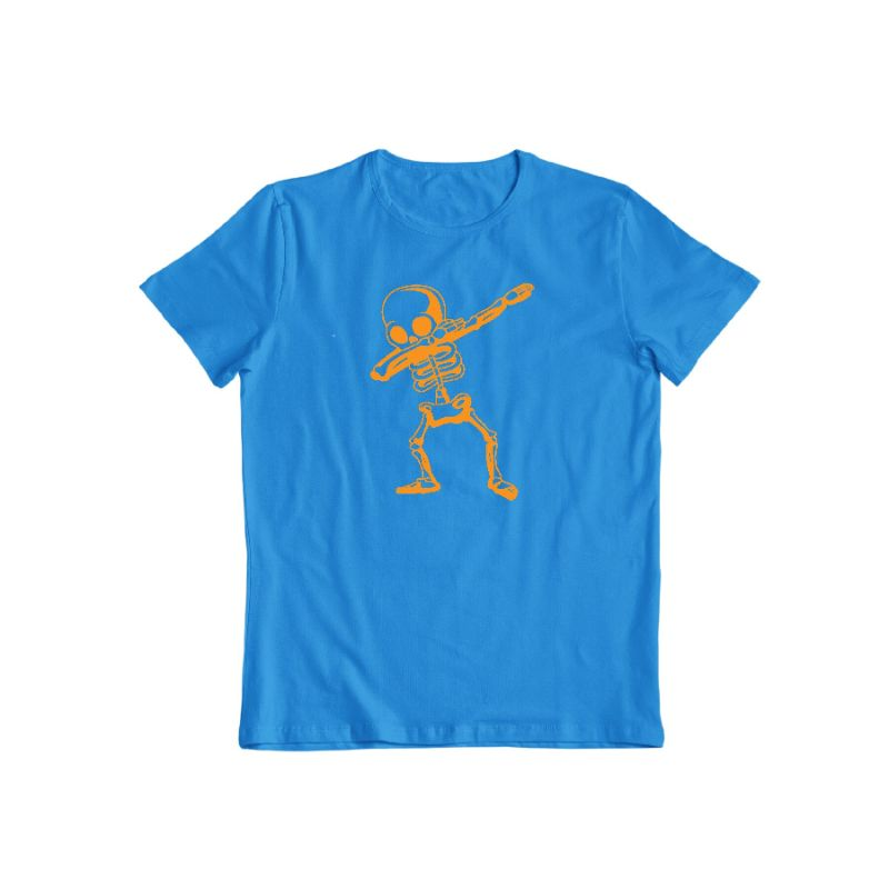Dabbing Skeleton Funny Unisex Halloween T-Shirt-Sapphire-S-Daily Steals