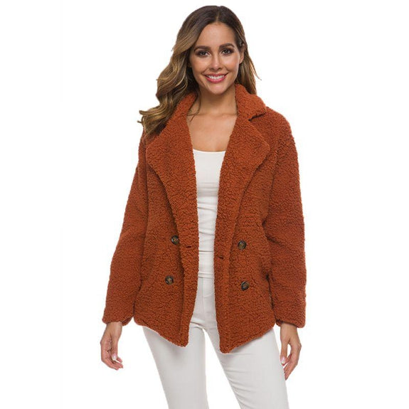 Soft Comfy Plush Pea Coat-Dark Orange-X-Large-Daily Steals