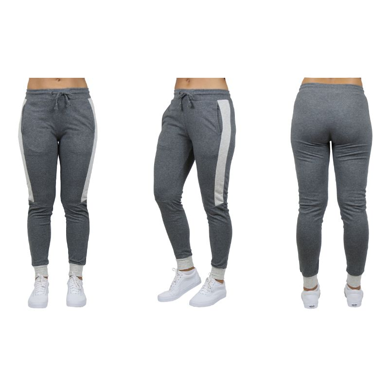 Women's Slim-Fit French Terry Joggers With Contrast Trim-Dark Grey-Small-Daily Steals