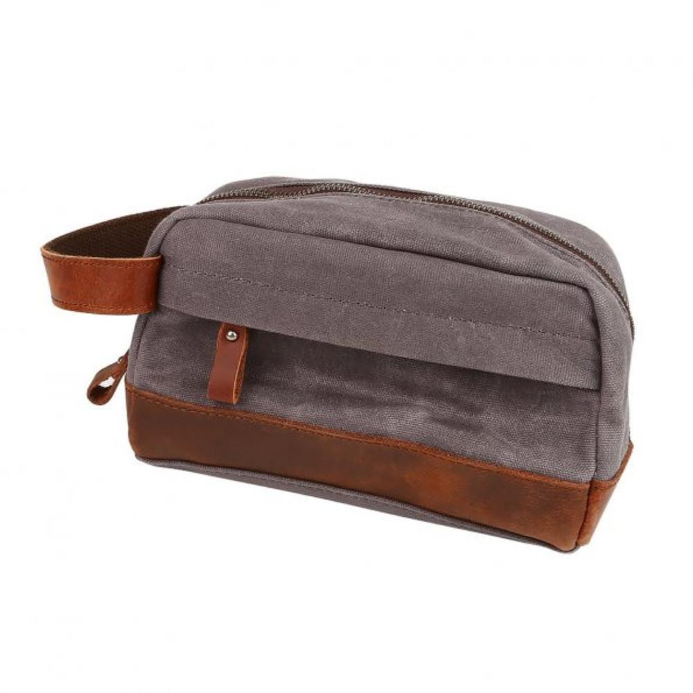 "Classic Canvas Leather Toiletry Bag - ""The Ditty""-Dark Gray-Daily Steals"