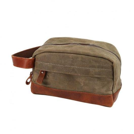 "Classic Canvas Leather Toiletry Bag - ""The Ditty""-Army Green-Daily Steals"