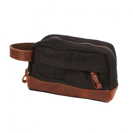 "Classic Canvas Leather Toiletry Bag - ""The Ditty""-Black-Daily Steals"