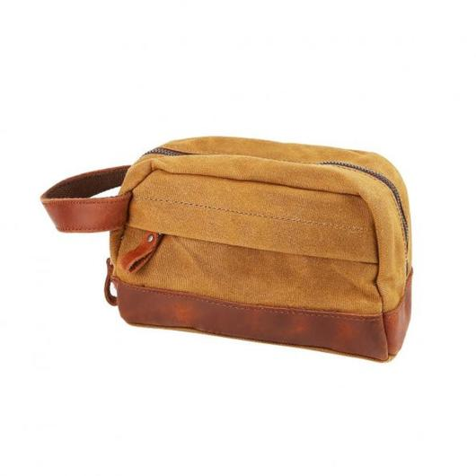 "Classic Canvas Leather Toiletry Bag - ""The Ditty""-Khaki-Daily Steals"