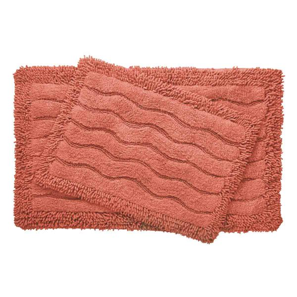 2-Piece Swirl Collection 100% Cotton Bath Rug Set-Salmon-Daily Steals