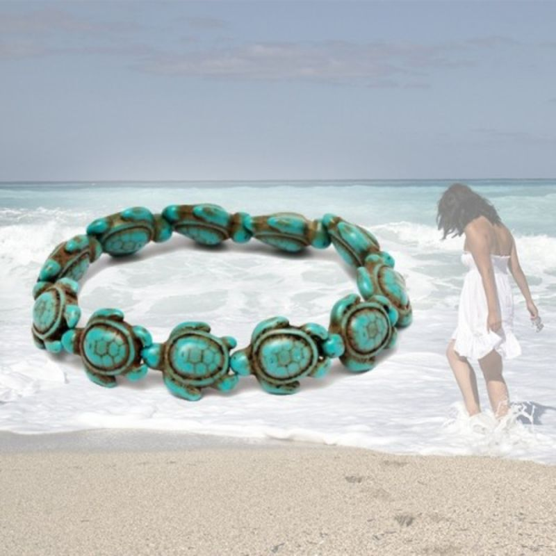 Turquoise Handmade Hawaiian Sea Turtles Bracelet-Daily Steals