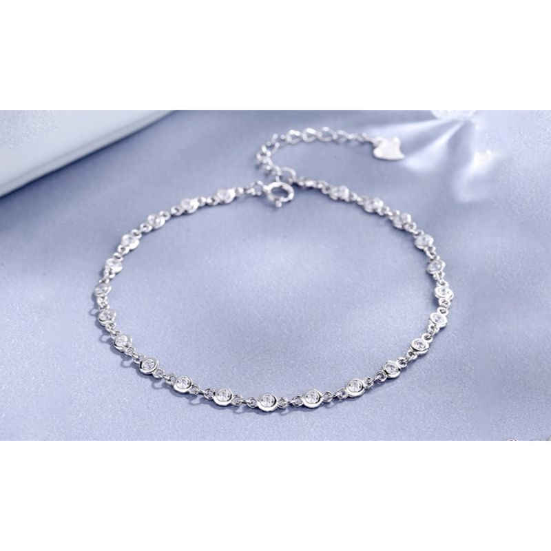 Sterling Silver Station Bracelet with Swarovski Crystals-Daily Steals
