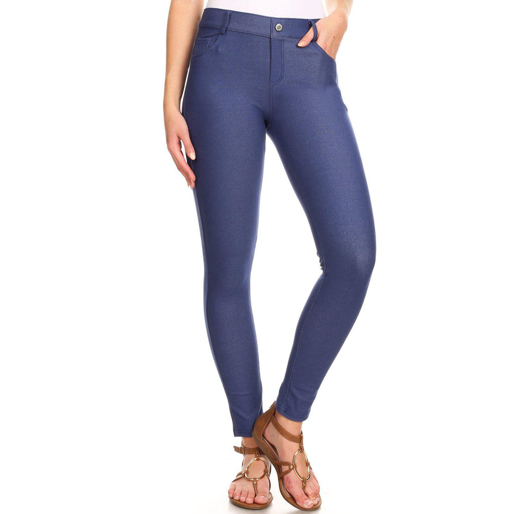 Mélange de coton complet femme Jeggings-Denim Blue-Large-Daily Daily