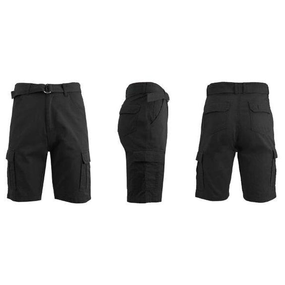 Men's Cotton Cargo Shorts with Tonal D-Ring Belt-Black-30-Daily Steals