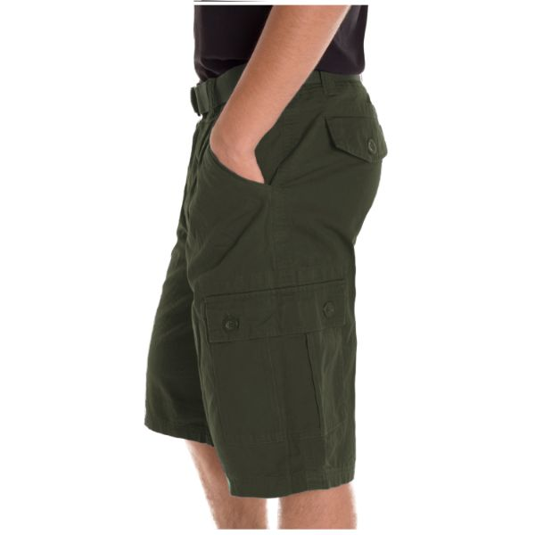 Alta Designer Fashion Men's Cargo Shorts, Twill Belt Included - Multiple Colors-Green-30-Daily Steals