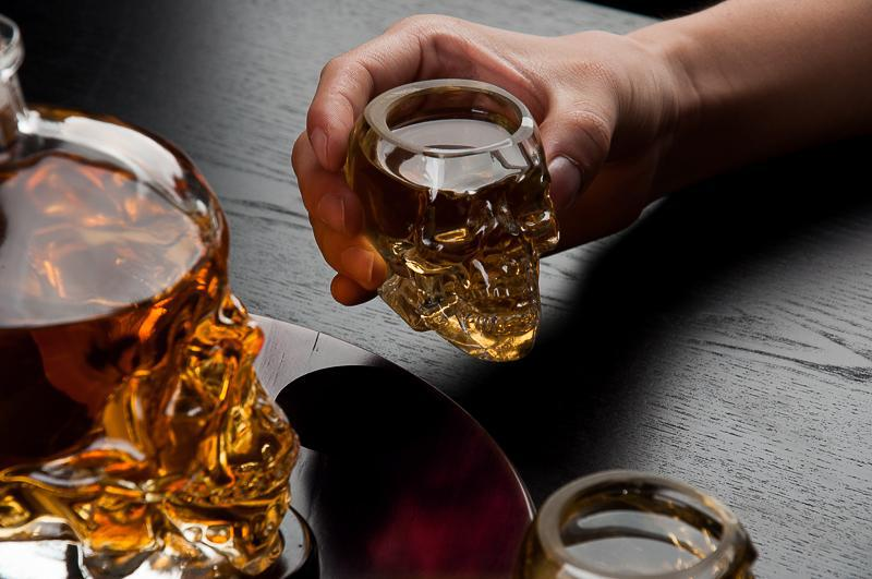 Large Skull Face Decanter with 4 Skull Shot Glasses and Beautiful Wooden Base-Daily Steals