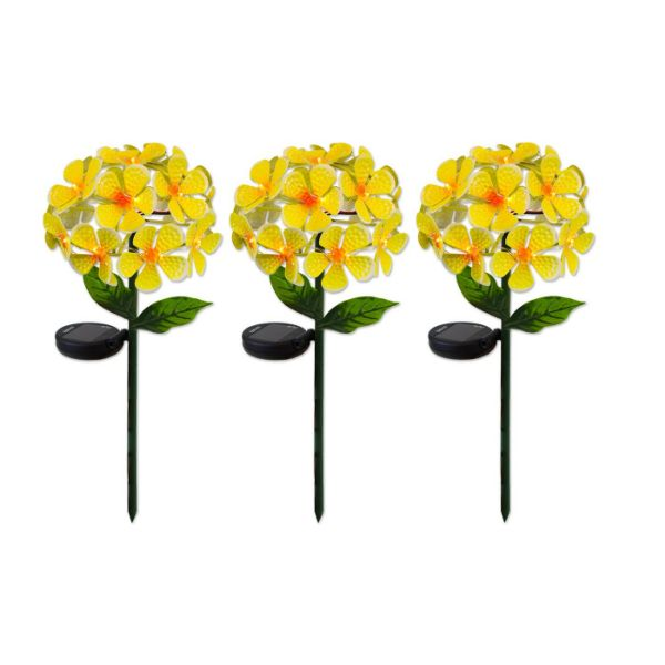 Solar LED Metal Flower Stake Lights - 1, 2, or 3 Pack-Yellow-3-Pack-Daily Steals