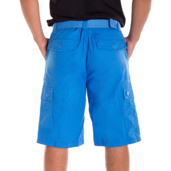 Daily Steals-Alta Designer Fashion Men's Cargo Shorts, Twill Belt Included - Multiple Colors-Men's Apparel-Black-30-