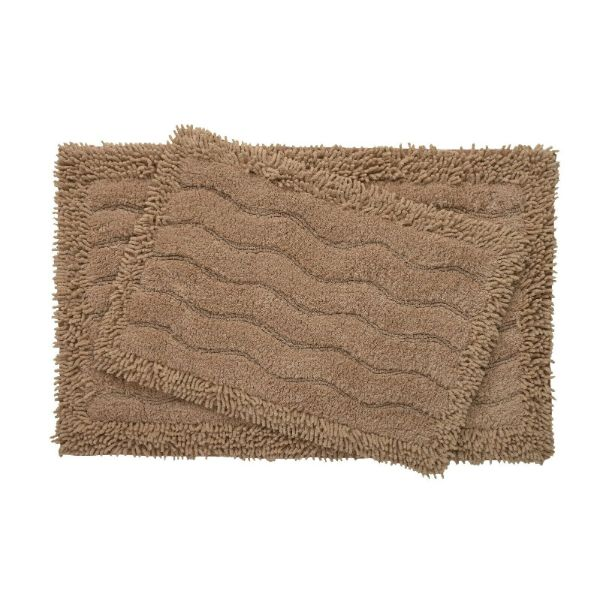 2-Piece Swirl Collection 100% Cotton Bath Rug Set-Taupe-Daily Steals