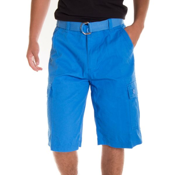 Alta Designer Fashion Men's Cargo Shorts, Twill Belt Included - Multiple Colors-Sky Blue-30-Daily Steals