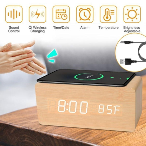 Digital Alarm Clock with Qi-Wireless Charging and Sound Control Brightness-Bamboo-