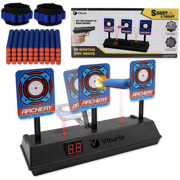 Digital Electronic Target for Nerf Guns Elite/Mega/Rival Series with Auto Scoring, 40 Dart Bullets, and 2 Wristbands-