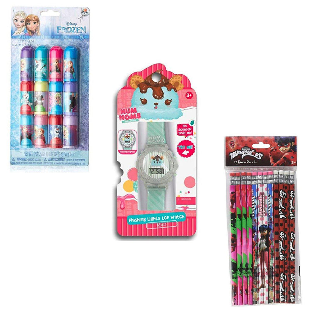 3 Girls Toys Set: Miraculous Pencils, Trolls Mini Lip Balm & Num Noms Mint Scented Bracelet-Daily Steals