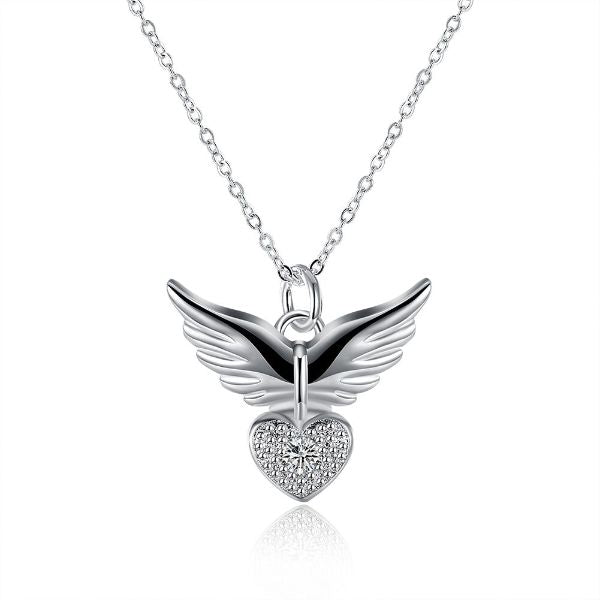 Guardian Angel Necklace Plated in 14K White Gold
