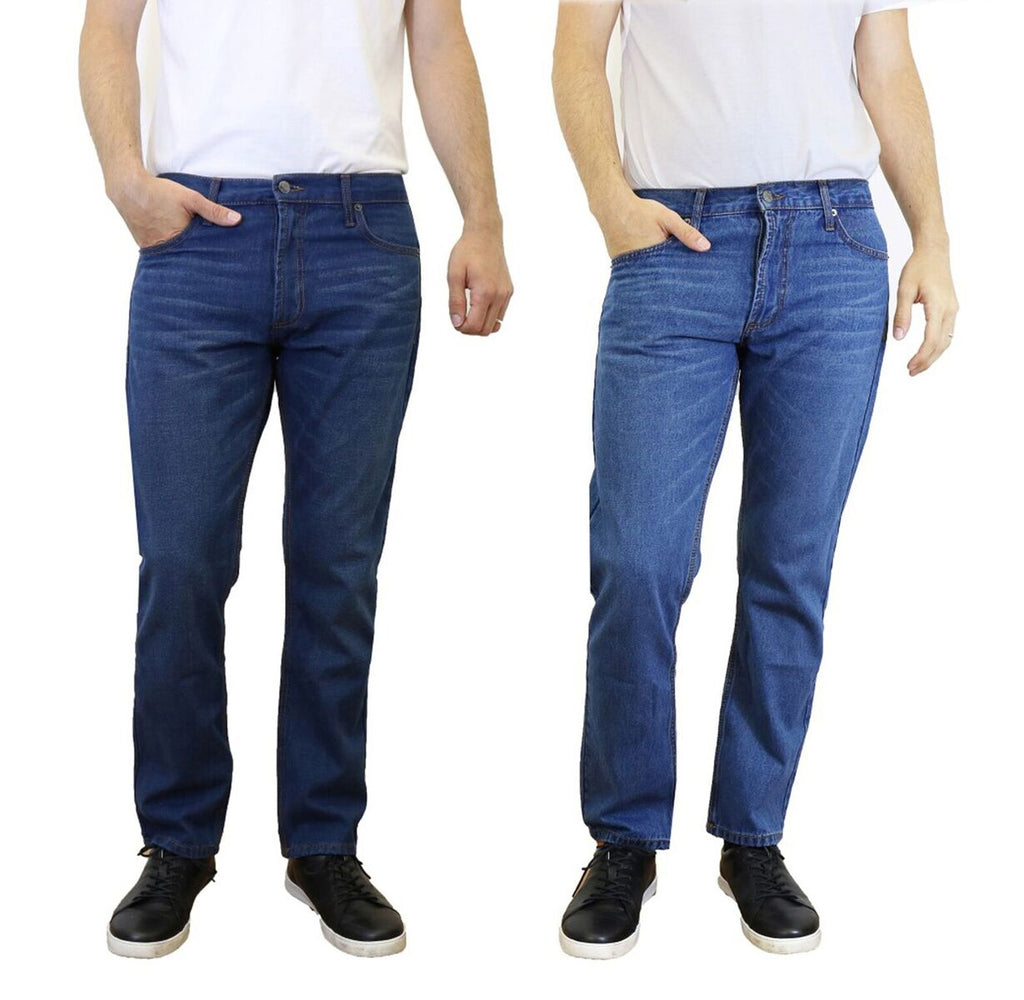 [Singles and 2-Pack] Men's Straight Leg Slim Fit Jeans - 100% Cotton-Dark Blue-Light Blue-30x30-Daily Steals
