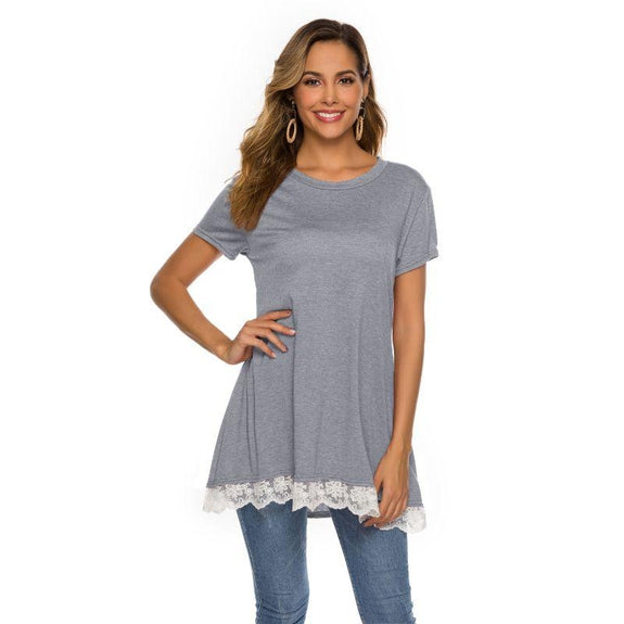 Women's Long Lace Trim Top by Lilly Posh-Light Grey-2XL-Daily Steals