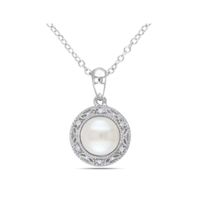 Women's White Cultured 7.5-8mm Freshwater Pearl and Diamond Pendant with Chain in Sterling Silver