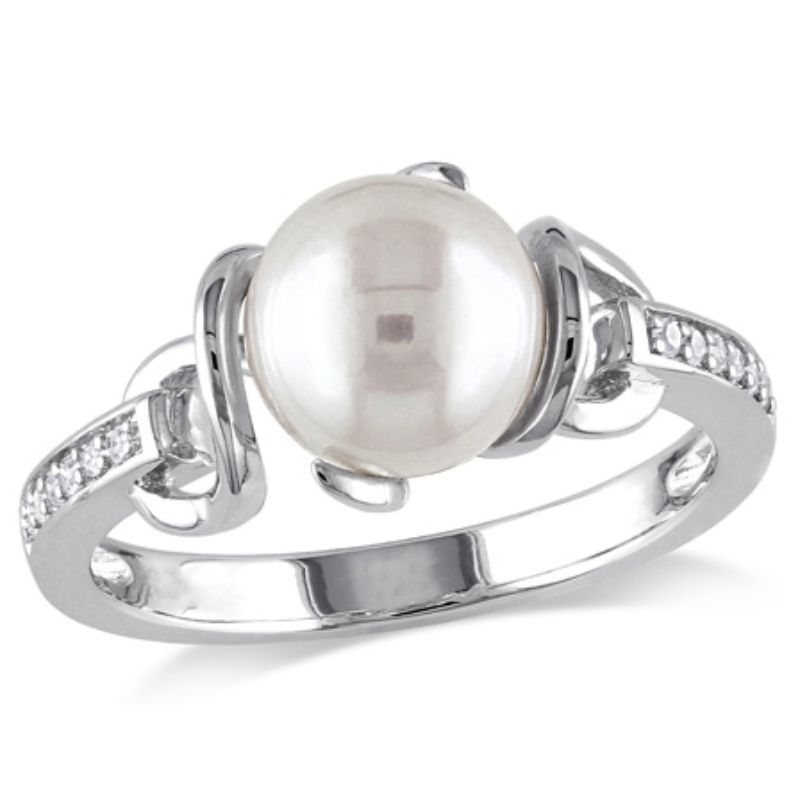 Women's White Cultured Freshwater Pearl and Diamond Twist Ring, Sterling Silver, 8-8.5mm