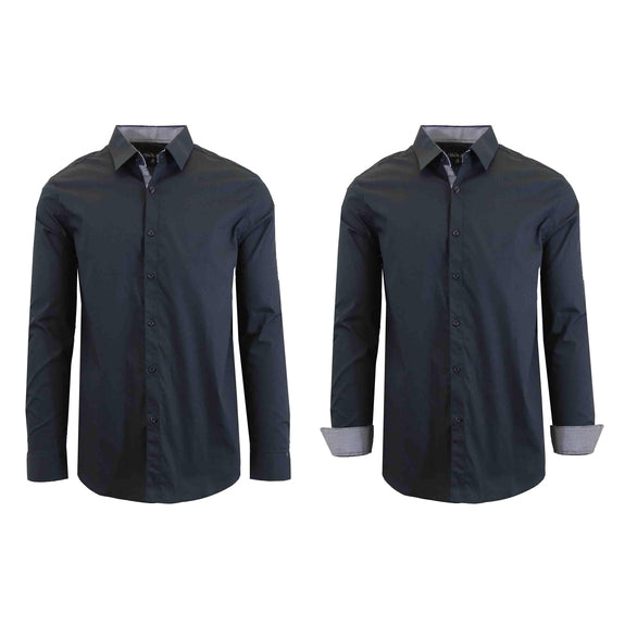 Mens Long Sleeve Solid Dress Shirt-Black-3XL-Daily Steals