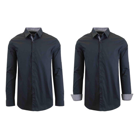 Daily Steals-Mens Long Sleeve Solid Dress Shirt-Men's Apparel-Black-Small-