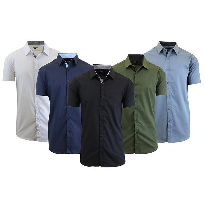 Mens Slim Fit Short Sleeve Button Down Dress Shirt-Daily Steals