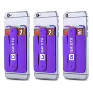 Gear Beast Stick-On Cell Phone Wallet and Credit Card/ID Holder with Stand - 3 Pack-Purple-Daily Steals