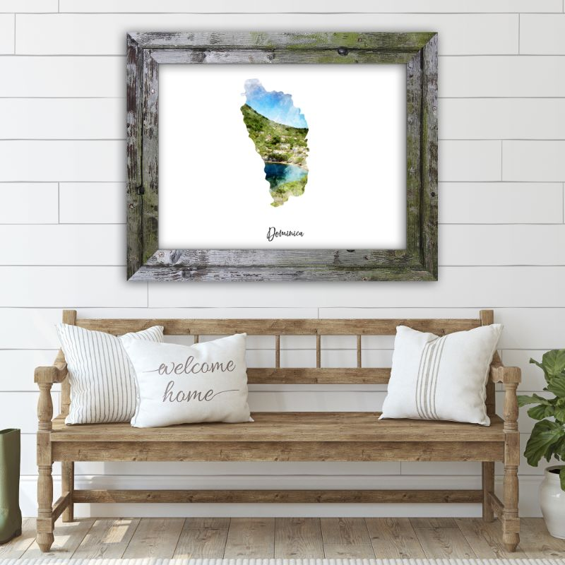 "Dominica Watercolor Map Print - Unframed Art Print-10""x8""-Horizontal/Landscape-Daily Steals"