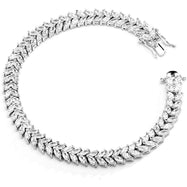 Double Row Tennis Bracelet in 18K White Gold Filled with Swarovski Crystals-Daily Steals