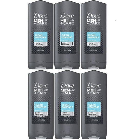 Dove Men's Body & Face Wash, Clean Comfort 13.50 Oz - 6 Pack-