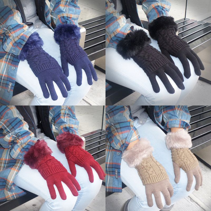 Women's Winter Gloves with Faux Fur Cuff-Daily Steals