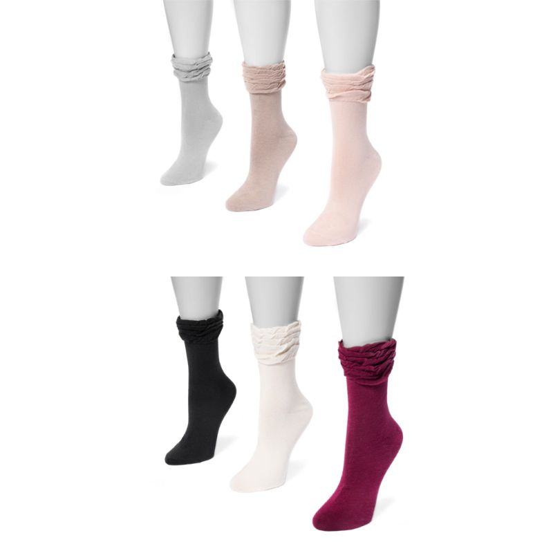 MUK LUKS Women's 3 Pair Pack Ruffle Boot Socks-Daily Steals
