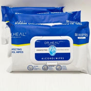 DR HEAL 75% Disinfecting 50 Count Alcohol Wipes - 5 Pack (250 Wipes Total)-