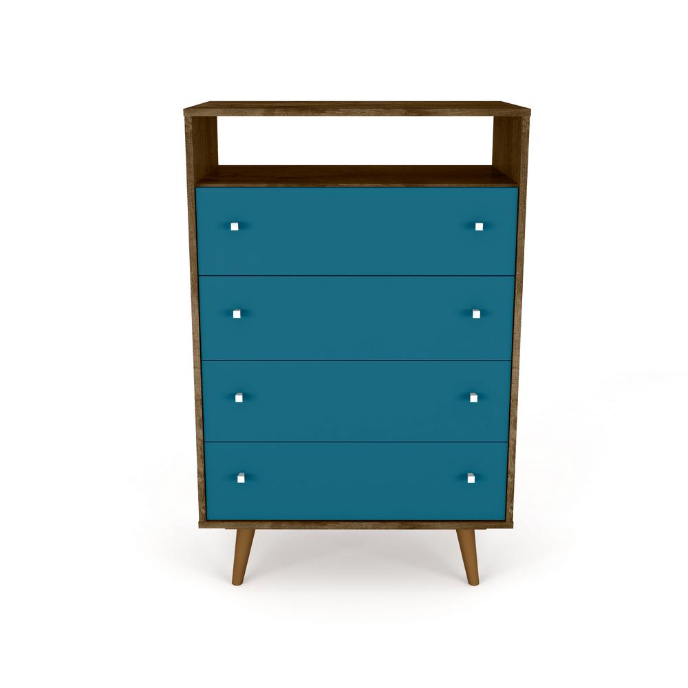 Liberty 4-Drawer Bedroom Dresser and TV Stand-Rustic Brown and Aqua Blue-Daily Steals