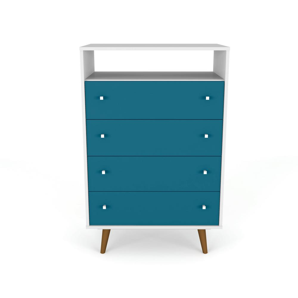 Daily Steals-Liberty 4-Drawer Bedroom Dresser and TV Stand-Home and Office Essentials-White and Aqua Blue-