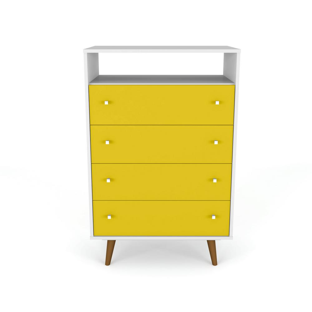 Liberty 4-Drawer Bedroom Dresser and TV Stand-White and Yellow-Daily Steals