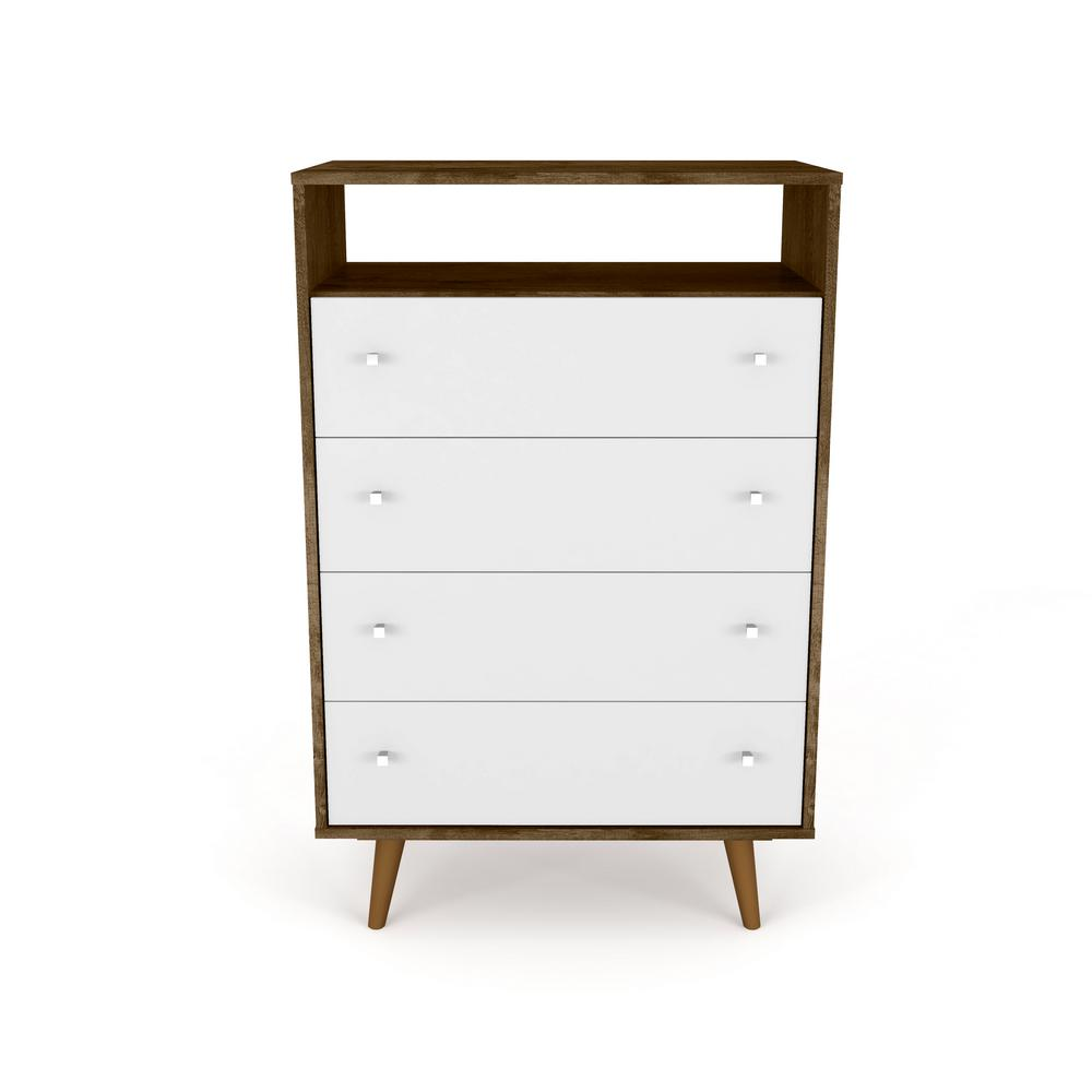 Liberty 4-Drawer Bedroom Dresser and TV Stand-Rustic Brown and White-Daily Steals