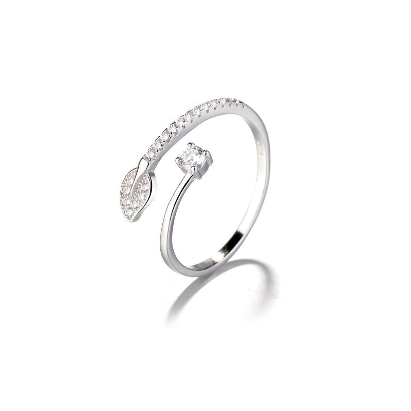 Sterling Silver Adjustable Bypass Leaf Ring with Swarovski Elements-Daily Steals