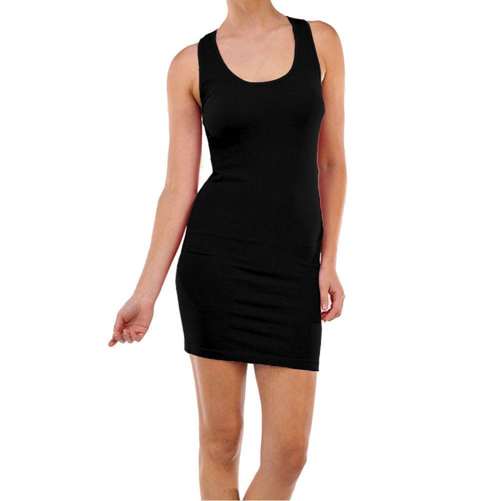 Smooth & Stretchy Racerback Wide Straps Round Dress - Unisize-Black-Daily Steals