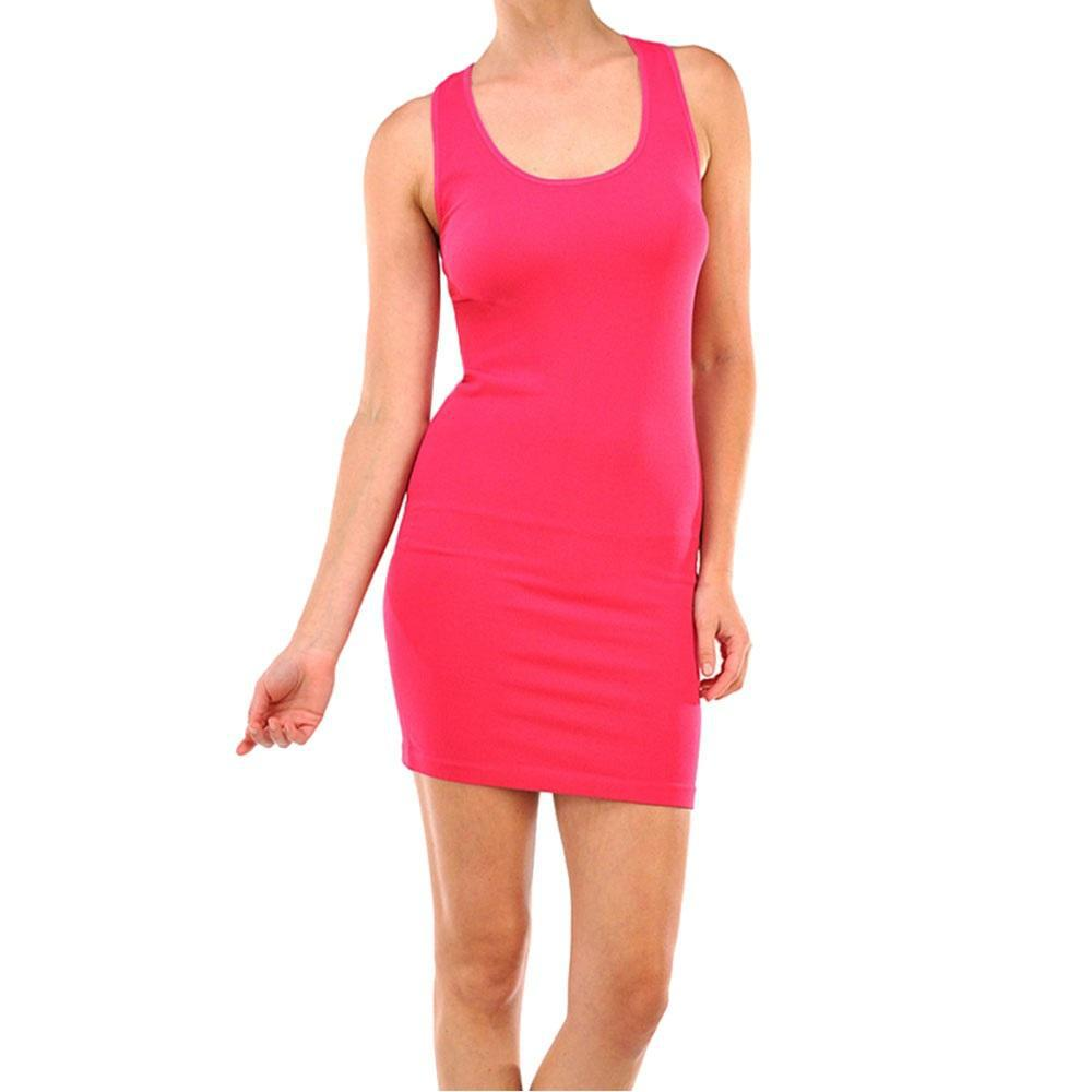 Smooth & Stretchy Racerback Wide Straps Round Dress - Unisize-Fuschia-Daily Steals
