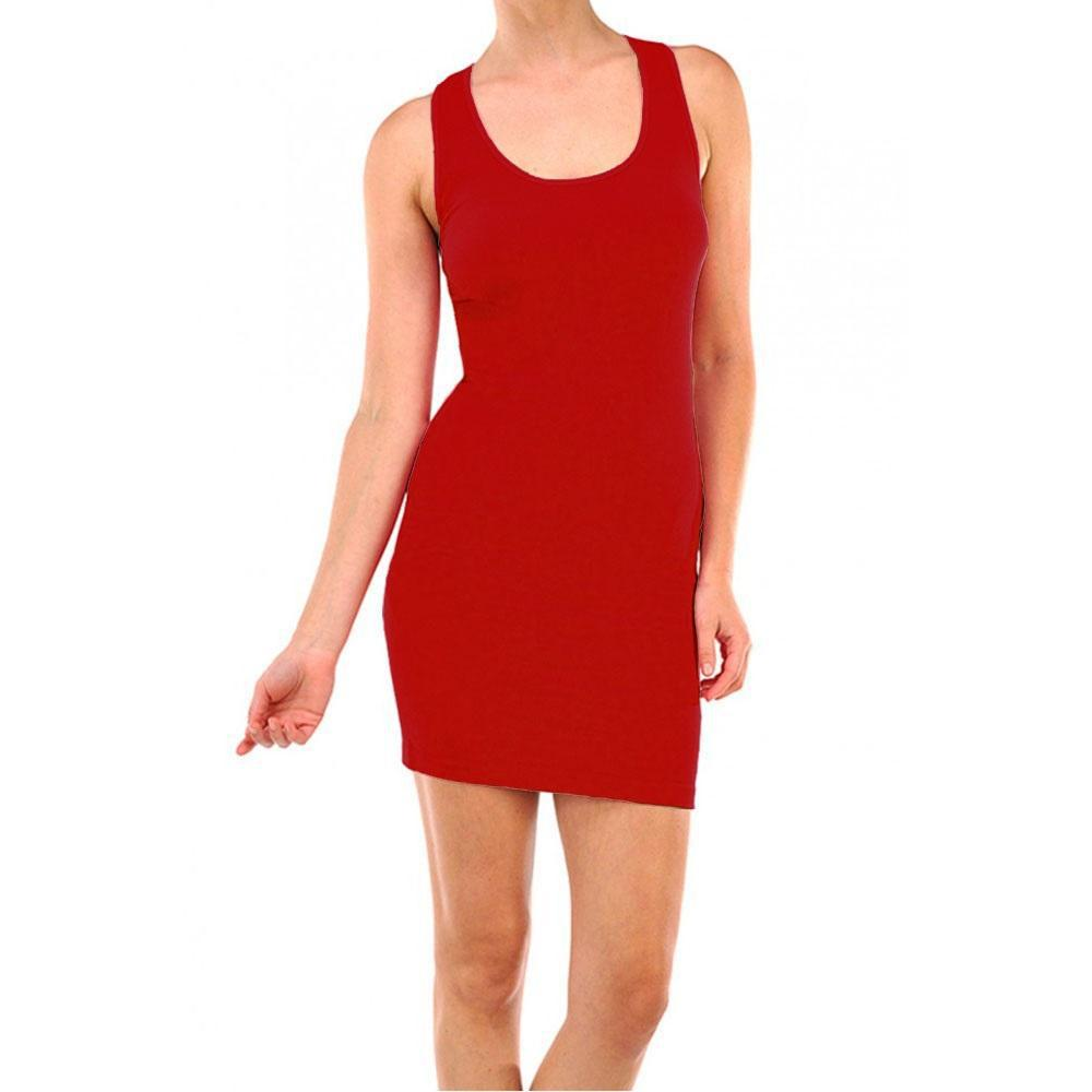 Smooth & Stretchy Racerback Wide Straps Round Dress - Unisize-Red-Daily Steals