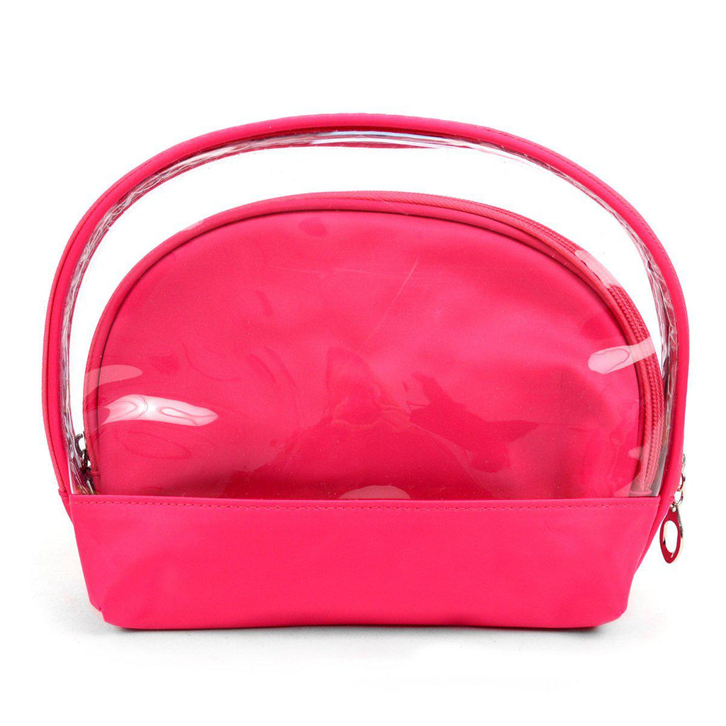 Ladies Clear and Solid Color Make Up, Cosmetics and Toiletry Bags - 2 Piece Set-Daily Steals