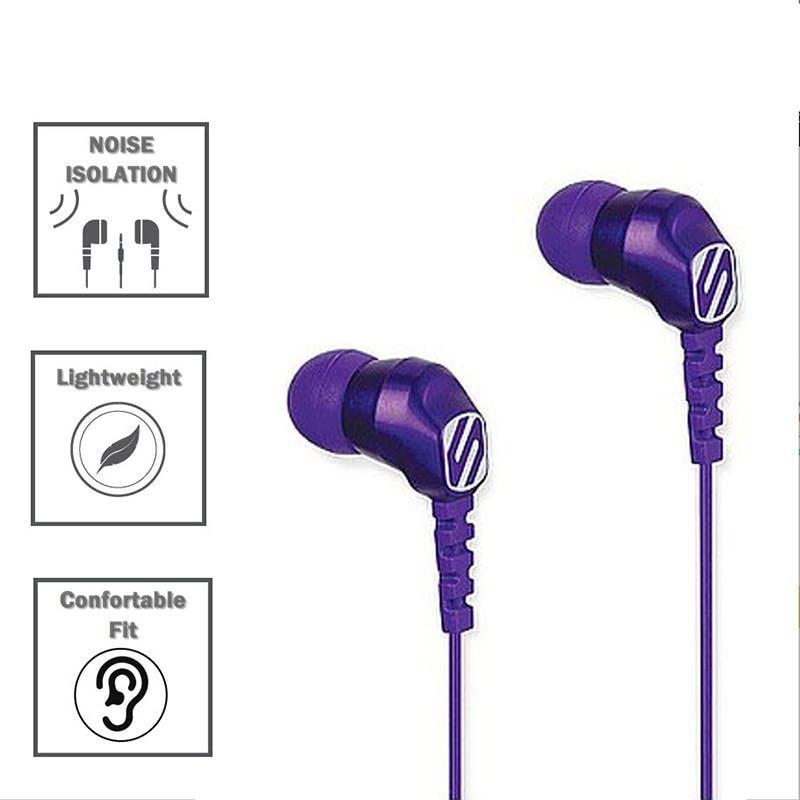 Scosche thudBUDS Noise Isolation Earbuds Lightweight Angled 3.5MM Connector-Daily Steals