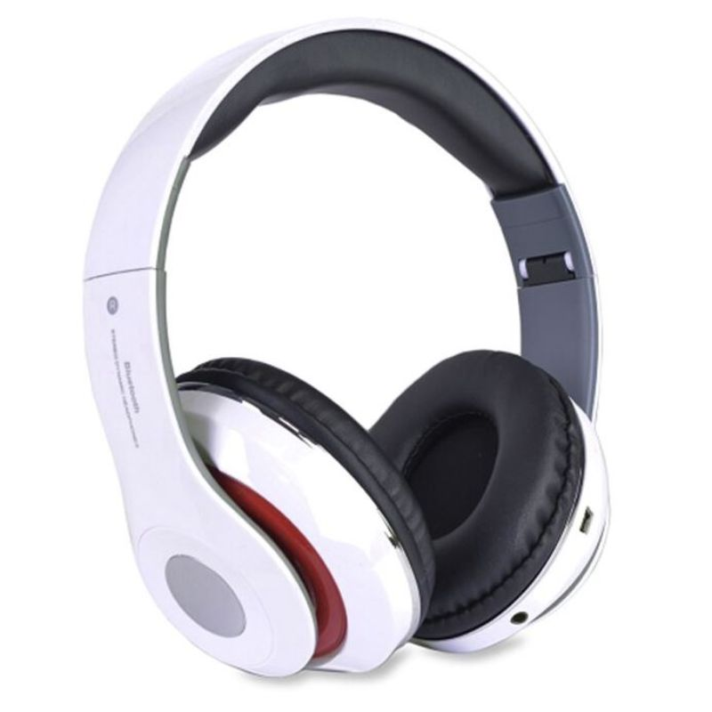Bluetooth Wireless Headphones with Built In FM Tuner, Memory Card Slot and Mic-White-Daily Steals